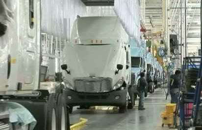 Semi truck on the manufacturing floor