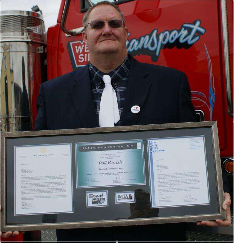 Iowa Automobile Dealers Association: Iowa Motor Truck Association Honors West Side Transport Driver