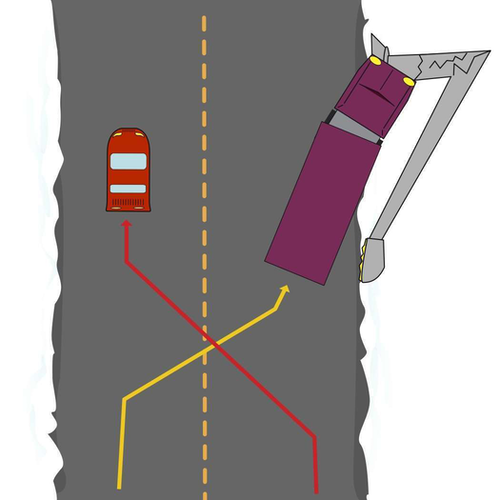 Drawing of truck avoiding a car and hitting a light post