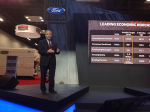Len Deluca, director of commercial vehicle sales and marketing for Ford, introduces the company's new Transit Connect compact van.