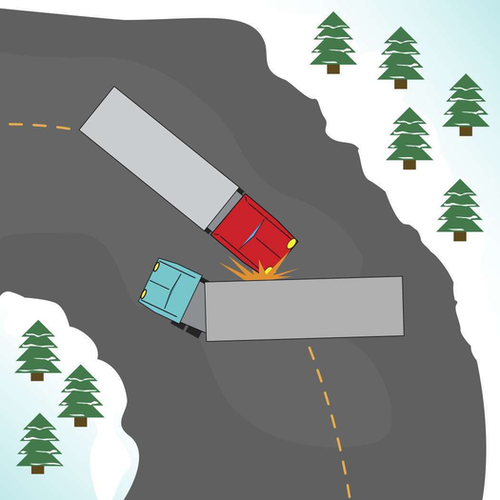 Illustration of an accident involving a semi truck