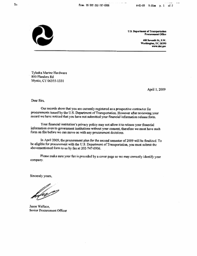 An example from the DOT's Office of Inspector General of a fraudulent letter requesting banking information.