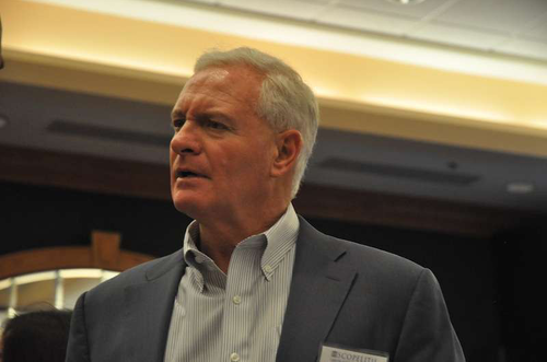 Pilot Flying J CEO Jimmy Haslam talks with fleet representatives, managers and executives at the 2013 Scopelitis Transportation Seminar May 16.
