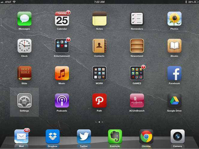 Settings button highlighted on iPad home screen.