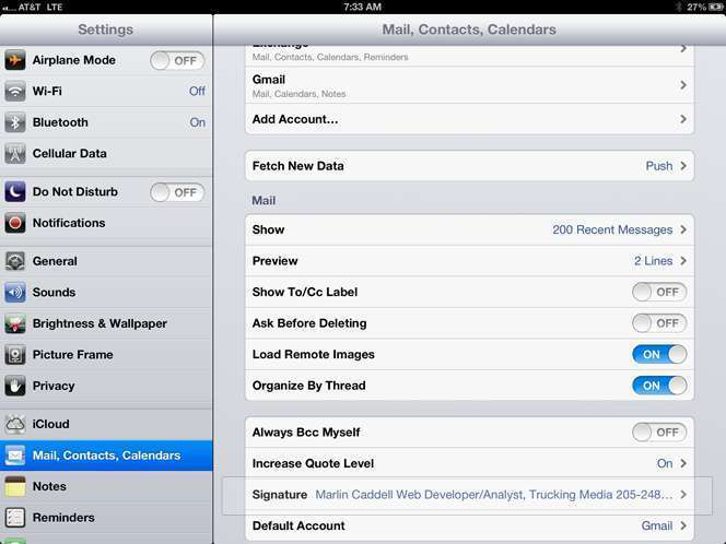iPad Mail, Contacts, Calendars section in Settings