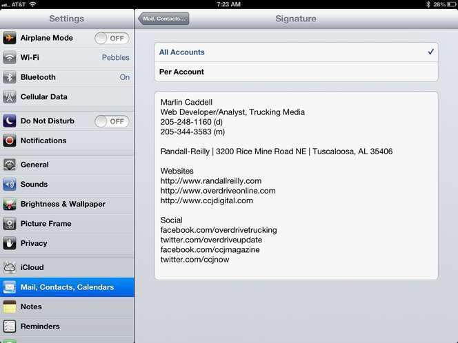 iPad Signature change in settings