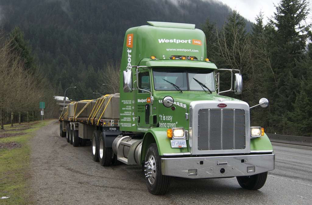 """Kermit"" is what Westport Innovations calls the 2012 Peterbilt 367 daycab tractor equipped with Westport's 475-horsepower 15L engine. The tractor is painted in the muted neon green Peterbilt reserves for alternative fuel vehicles."