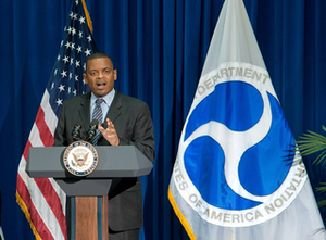 Transportation Secretary Anthony Foxx speaks at his swearing in. (DOT photo)