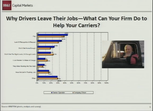 Drivers rate lack of recognition ahead of home time as a reason for leaving a carrier, according to a recent survey.  BB&T/Transplace graphic