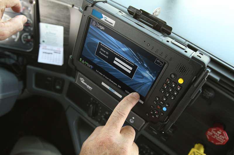 PeopleNet ELD application in truck cab