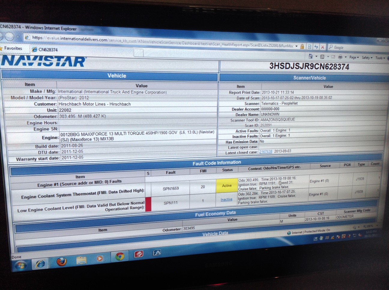 PeopleNet sending active fault codes to Navistar diagnostics