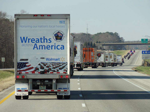 A convoy heads to Arlington, Va., loaded with wreaths from Maine
