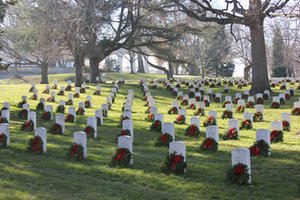 The trucking industry brings the wreaths for the annual ceremony at Arlington National Cemetery, shown here in Dec. 2012