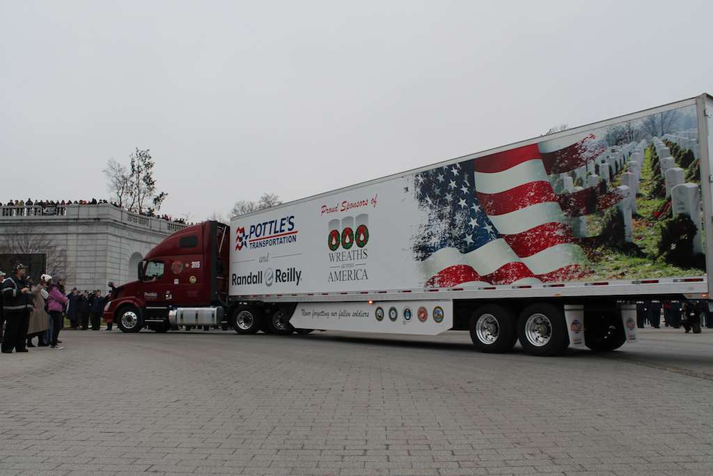 A Pottle's Transportation truck pulls into Arlington National Cemetery.