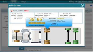 Omnitracs' new tire pressure monitoring feature alerts driver and back office to critical tire issues.