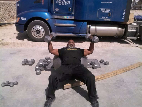 Melton company driver Brian Russell finds time to stay fit on the road.