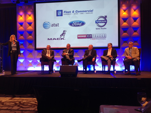 Representatives from truck manufacturers discuss trends in connectivty at the Telogis Latitude user conference, Oct. 28