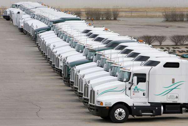 Parking Lot Full of Trucks