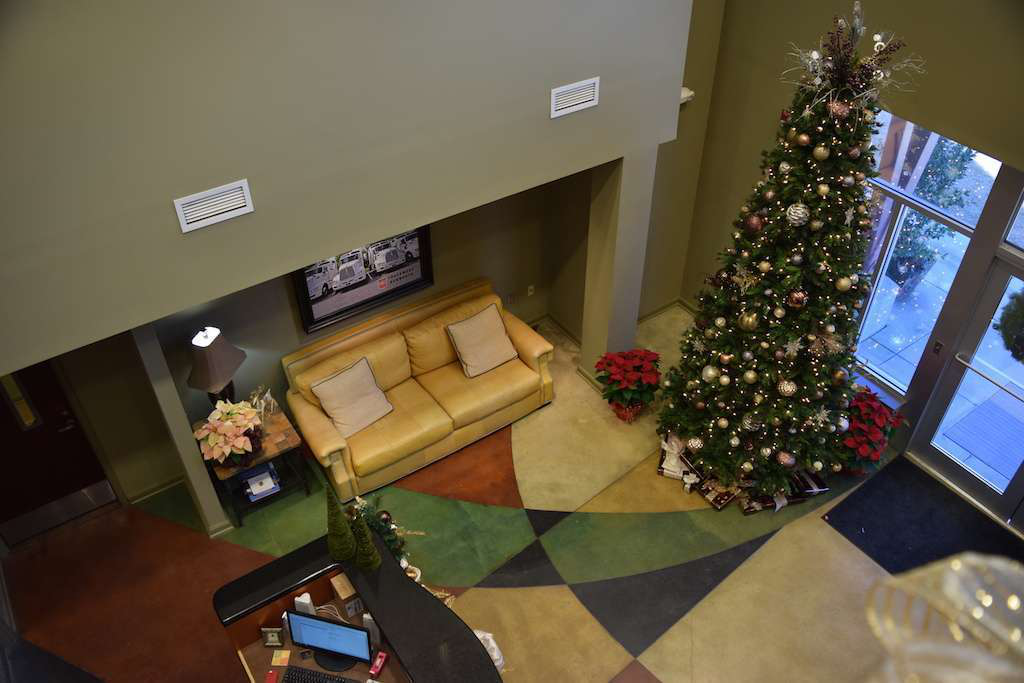 The lobby/foyer of WTI's office. I visited during the Christmas season, and the company had its decorations on display.