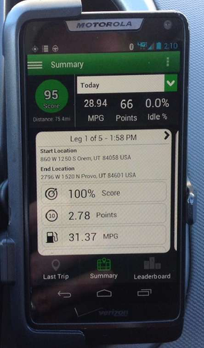 The PedalCoach app shows drivers a fuel efficiency score at the end of every trip.