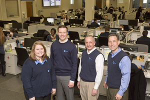 From left: Lauren Howard, vice president of customer service; Eric Meek, chief operating officer; Mike Gabbei, chief information officer; and Paul Will, CEO, led the transformation of the customer service department at Celadon Trucking. CLICK on the photo to see more images of CCJ's visit on March 4.