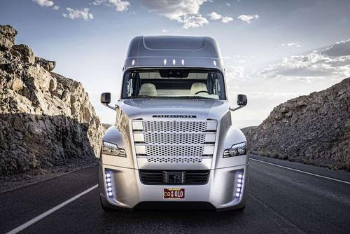 Freightliner's Inspiration, a Level 3 autonomous vehicle. Freightliner's truck is legally licensed to operate in Nevada.