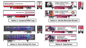 Trucking Moves America Forward has four options available for trailer decal wraps.