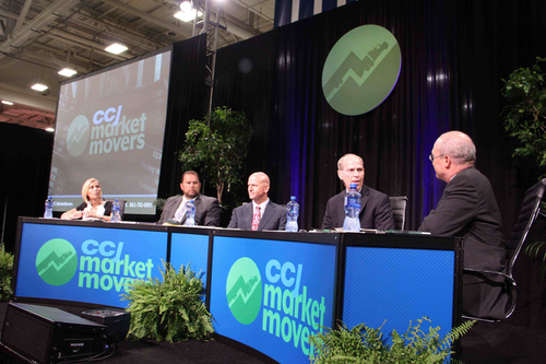 CCJ's Market Movers was hosted by Donald Broughton of Avondale Partners (far right) and CNBC anchor Morgan Brennan (far left). Other panelists included