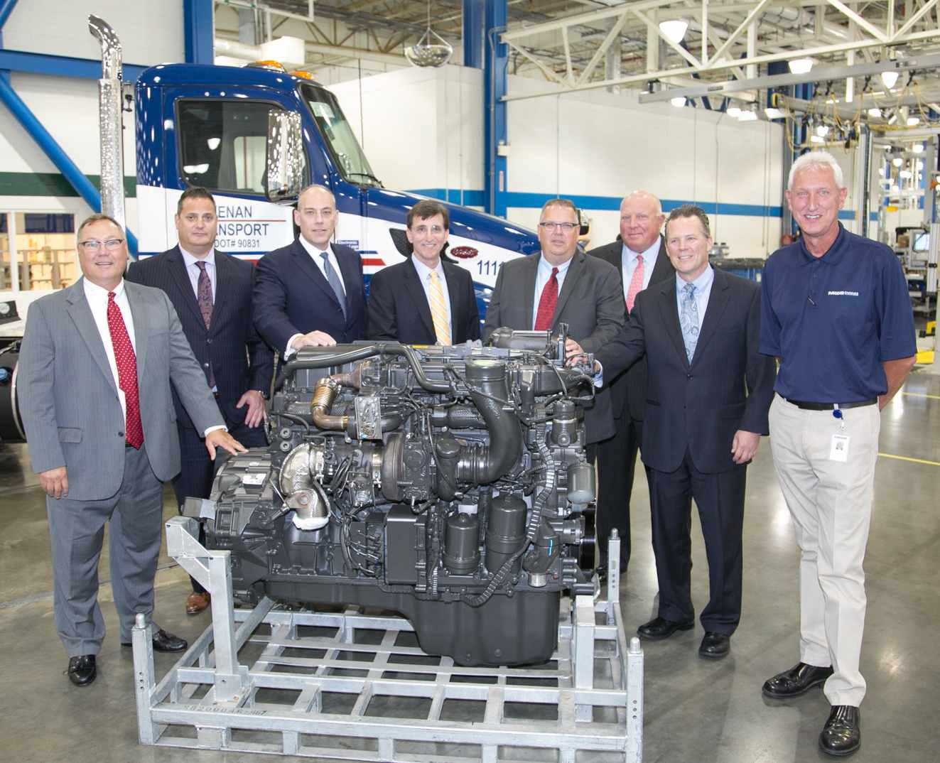 Representatives from AMG Peterbilt of Columbus, Kenan Advantage Group, PACCAR Engines and Peterbilt Motors Company celebrated the production of the 100,000th PACCAR MX-13 engine at the manufacturing facility in Columbus, Miss.