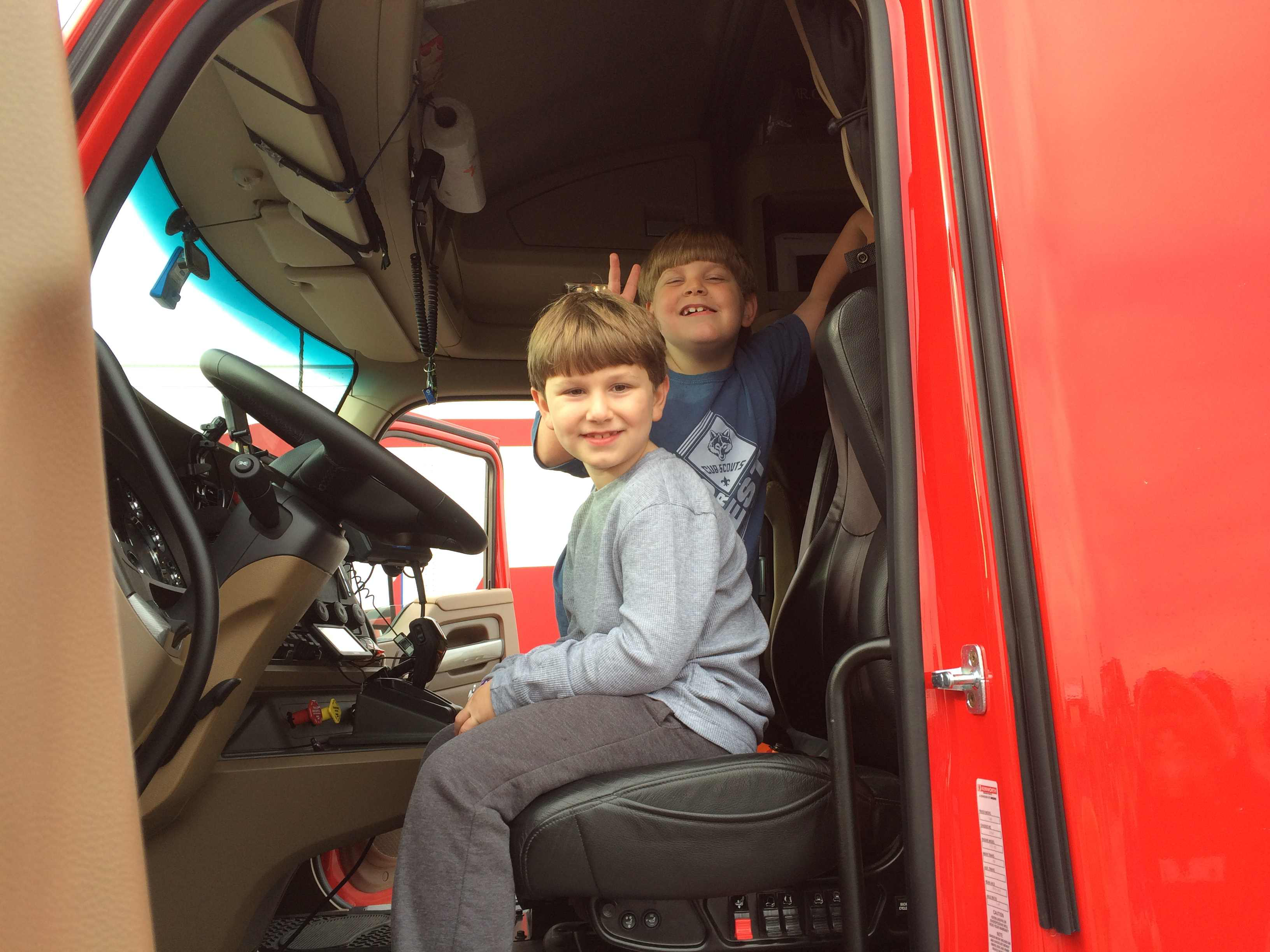 Trucker Buddy brought four trucks to the Boy Scouts' Circle Ten Xperience, and Scouts were able to climb in the trucks and ask drivers questions about the industry.