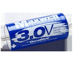 Maxwell Technologies 3-volt 3,000-farad ultracapacitor cell