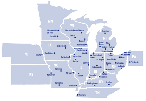 Dayton Freight has 48 service centers and offers shippers one- or two-day service to thousands of points throughout a 13-state area.