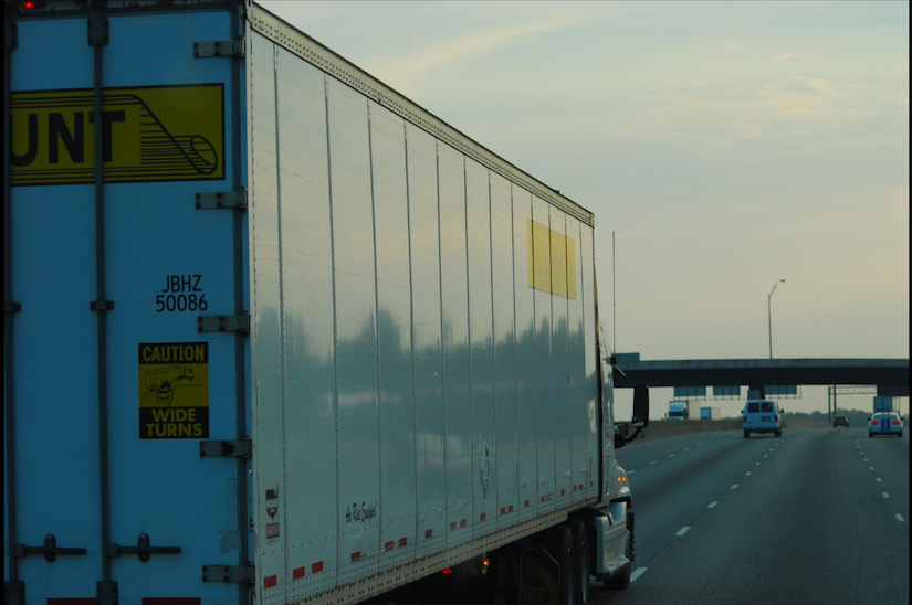 J.B. Hunt rear-view of tractor trailer