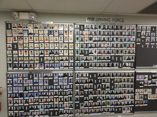 A picture wall organizes current drivers by tenure.