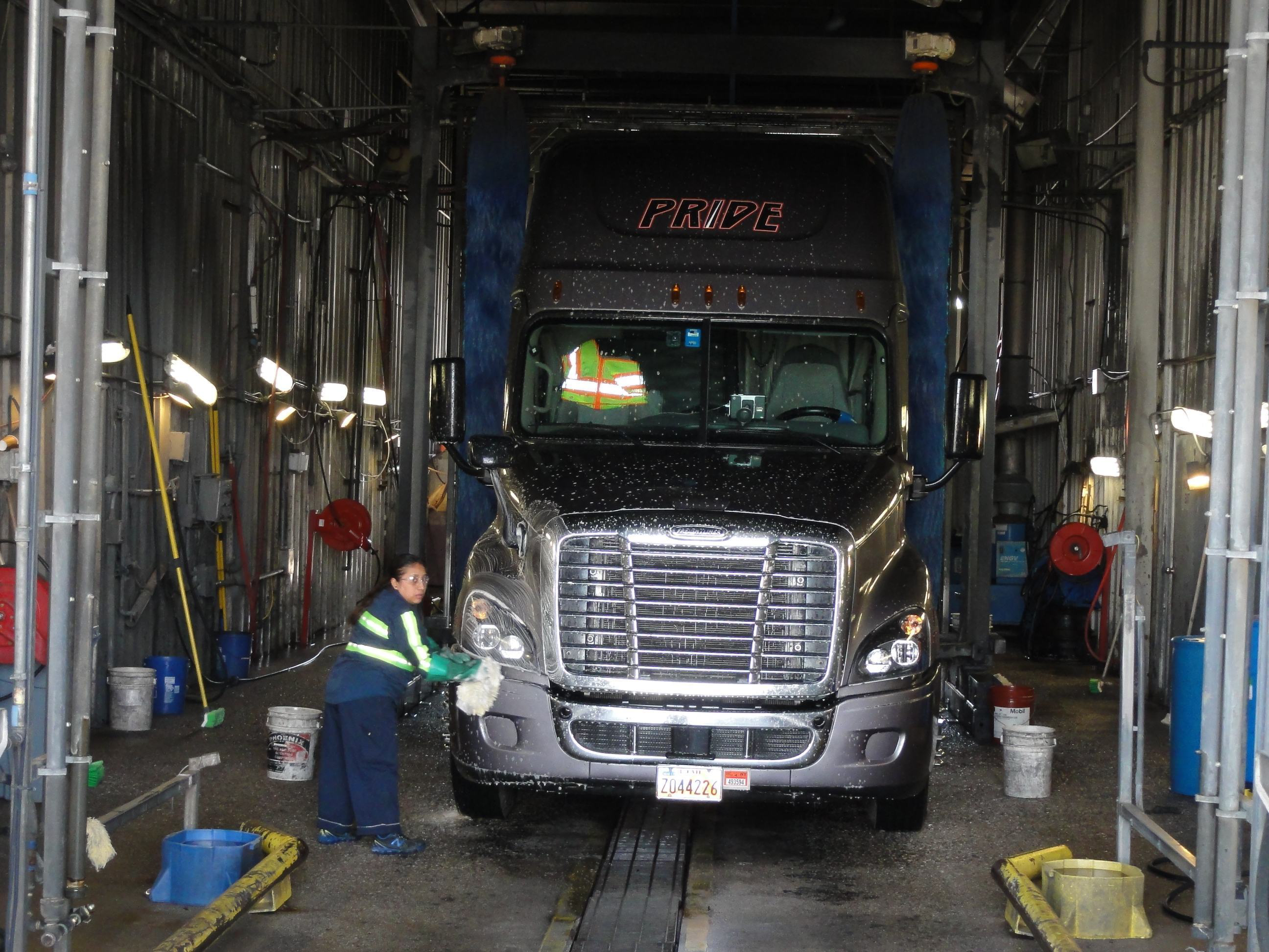 Pride transport s hand wash truck bay serves as a trucking image campaign and driver recruiting