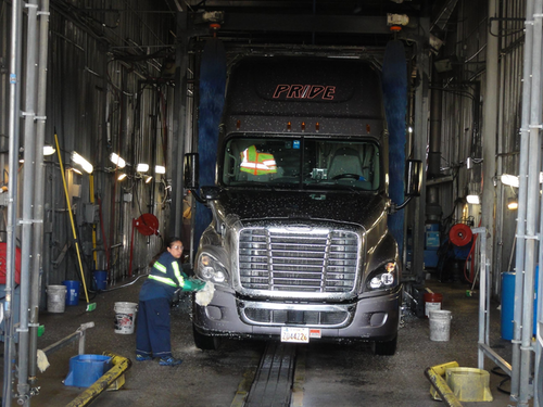 Pride Transport's hand-wash truck bay serves as a trucking image campaign and driver recruiting tool.