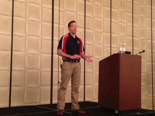 Peter Covach, IT systems analyst for Paper Transport, speaks during the Omnitracs user conference, Feb. 1, 2016, in Dallas.