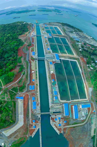 Aerial view of the new Agua Clara Locks on the Atlantic side of the Panama Canal. The new three-step lock system runs parallel to the existing Gatun Locks built in 1914.