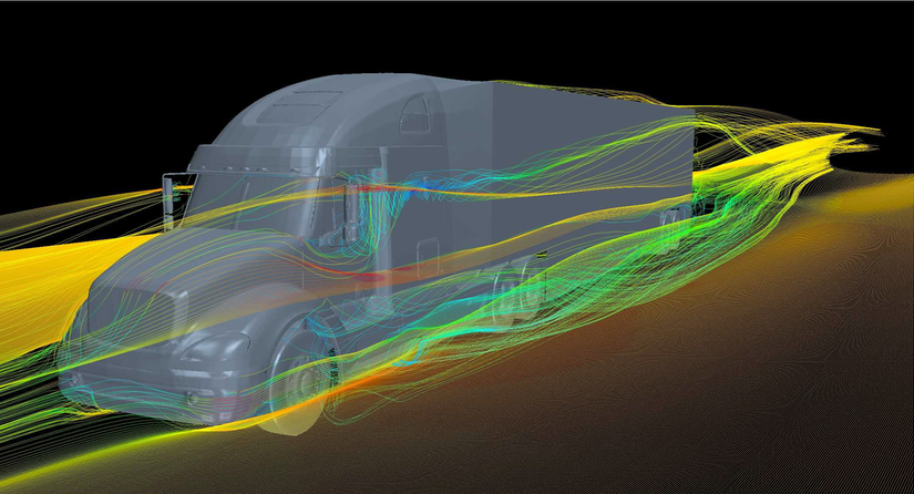 Aerodynamic technology for a semi truck illustration
