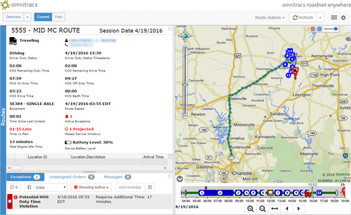 The Roadnet routing software from Omnitracs identifies a possible service failure due to a driver running out of hours.