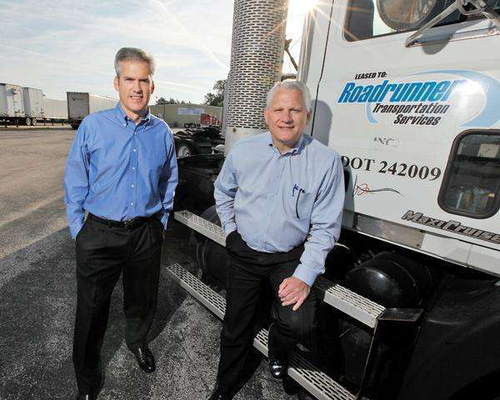 Roadrunner Transportation Systems' Peter Armbruster, chief financial officer, left, and Mark DiBlasi, CEO, are firsthand witnesses to the company's rapid growth.