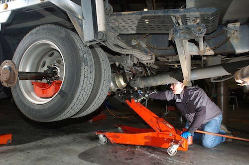 Mechanic working under a truck