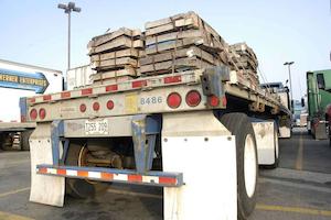 Semi truck trailer parked