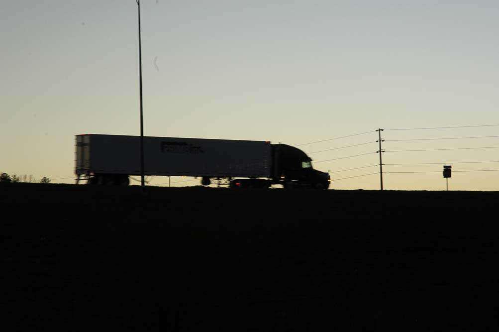 Semi-Truck at Dawn