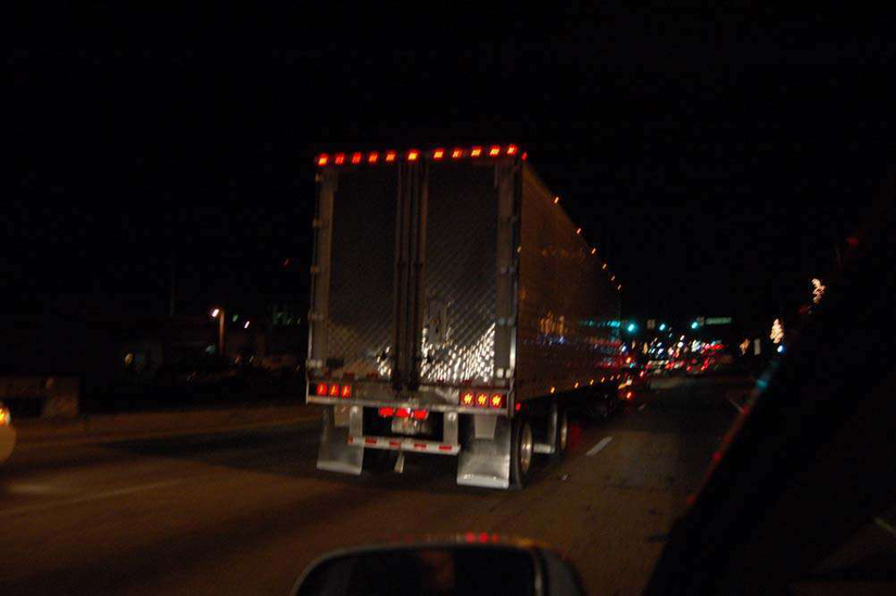 Semi-Truck Driving at Night