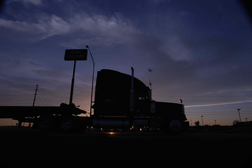 Semi-Truck Parked at Dusk