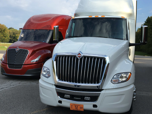 International's LT Series (right) drew some efficiency inspiration from the company's SuperTruck project, pictured left.