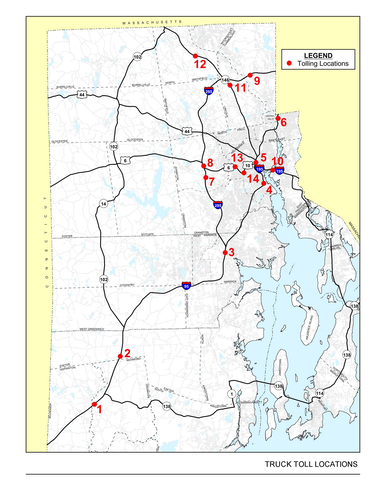 A map of the truck tolling locations specified by the Rhodeworks plan.