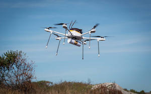 UPS and drone company CyPhy demonstrated drones' delivery capabilities in a mock delivery of urgently needed medical supplies.
