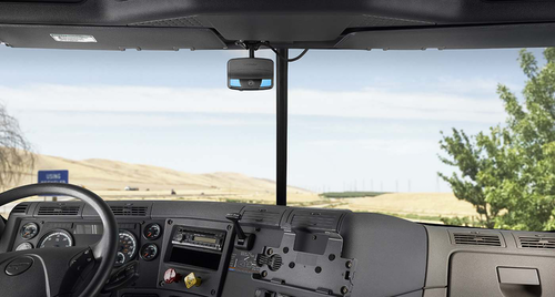 View from the inside of a semi-truck's cab